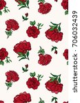 seamless trendy red roses... | Shutterstock .eps vector #706032439