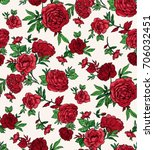 seamless trendy red roses... | Shutterstock .eps vector #706032451