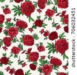 seamless trendy red roses... | Shutterstock .eps vector #706032451