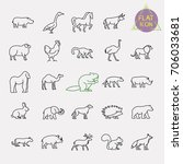 animals line icons set | Shutterstock .eps vector #706033681