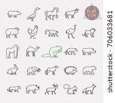 animals line icons set | Shutterstock .eps vector #706033681