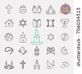 religion line icon set | Shutterstock .eps vector #706034515