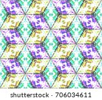colorful seamless rhombus... | Shutterstock . vector #706034611