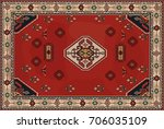 persian carpet  tribal vector... | Shutterstock .eps vector #706035109