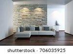 modern bright interiors. 3d... | Shutterstock . vector #706035925