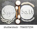inscription sugar and salt on... | Shutterstock . vector #706037254