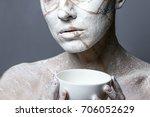 art portrait of woman covered... | Shutterstock . vector #706052629