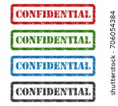 confidential set rubber stamp... | Shutterstock .eps vector #706054384
