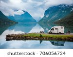 Family vacation travel, holiday trip in motorhome, Caravan car Vacation. Beautiful Nature Italy natural landscape Alps. - stock photo