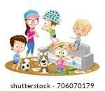 vector illustration of confused ... | Shutterstock .eps vector #706070179