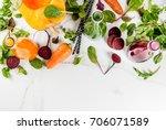 vegan diet food. selection... | Shutterstock . vector #706071589