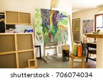 art studio with paintings and... | Shutterstock . vector #706074034
