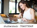 smart asia woman using smart... | Shutterstock . vector #706075069