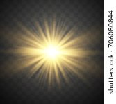 golden glowing lights effects... | Shutterstock .eps vector #706080844