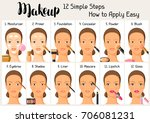 makeup 12 simple steps how to...   Shutterstock .eps vector #706081231