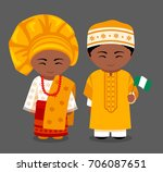 nigerians in national clothes... | Shutterstock .eps vector #706087651