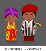 ghanaian in national clothes... | Shutterstock .eps vector #706089385