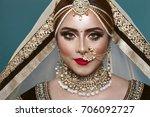 portrait of a beautiful elegant ... | Shutterstock . vector #706092727