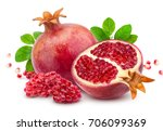 pomegranate isolated on white... | Shutterstock . vector #706099369
