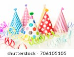 colorful party hats for kids... | Shutterstock . vector #706105105