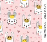 Stock vector seamless pattern with cute rabbit baby girl princess 706111564