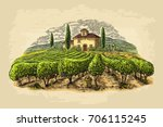 rural landscape with villa ... | Shutterstock .eps vector #706115245