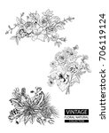 floral outline coloring vector... | Shutterstock .eps vector #706119124