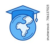 study abroad vector line icon... | Shutterstock .eps vector #706137025