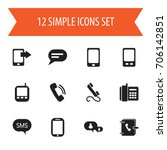 set of 12 editable gadget icons.... | Shutterstock .eps vector #706142851
