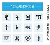 set of 12 editable faith icons. ...