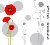 Abstract Red Poppy Pattern...