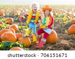 little girl and boy picking... | Shutterstock . vector #706151671