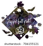 halloween mosaic label with... | Shutterstock .eps vector #706155121