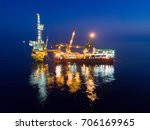 aerial view of tender drilling... | Shutterstock . vector #706169965