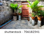 interior living room in garden... | Shutterstock . vector #706182541