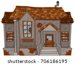 old house with broken windows... | Shutterstock .eps vector #706186195