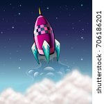 rocket flying in the space... | Shutterstock .eps vector #706186201