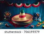 mexican hats on a serape and... | Shutterstock . vector #706195579