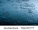 Rain Drops On The Surface Of...
