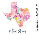 cute texas art print with... | Shutterstock . vector #706207135