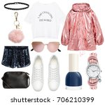 set of stylish clothes ... | Shutterstock . vector #706210399