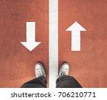 standing between the line and... | Shutterstock . vector #706210771