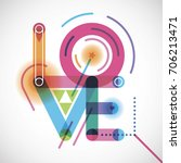 abstract love poster design | Shutterstock .eps vector #706213471