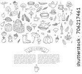 hand drawn doodle autumn icons... | Shutterstock .eps vector #706217461