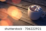 coffee time with orange bokeh... | Shutterstock . vector #706222921