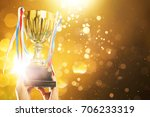 hand raised  holding gold cup... | Shutterstock . vector #706233319