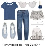 set of stylish clothes ... | Shutterstock . vector #706235644