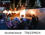 golden light of candle frame in ... | Shutterstock . vector #706239814