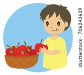 a boy eating an apple and a... | Shutterstock .eps vector #706243639