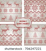 set of seamless wrapping paper... | Shutterstock .eps vector #706247221